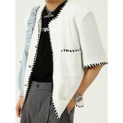 FAERIS - Short-Sleeve Contrast Trim Button-Up Jacket
