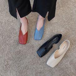 clog & wings - 方形鞋頭平跟鞋