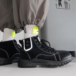 Lazi Boi - Plain Lace-Up Short Boots