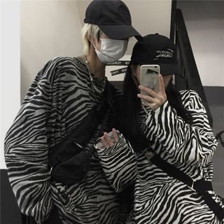 Sevilla(セビージャ) - Couple Matching Long-Sleeve Zebra Print T-Shirt