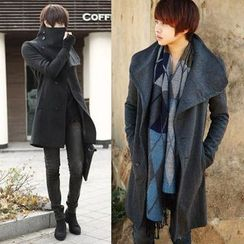 Sheck - Oversized-Collar Single-Breasted Tweed Coat