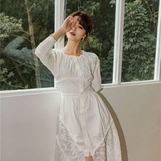 Jolly Club - Long-Sleeve Midi A-Line Dress