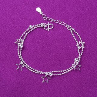 Forainer - 925 Sterling Silver Star Layered Bracelet / Anklet