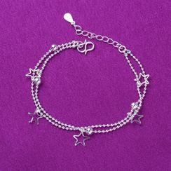 Forainer - 925 Sterling Silver Star Layered Bracelet / Anklet