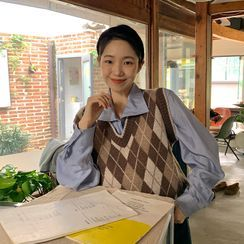 FROMBEGINNING - Woolen Argyle Knit Vest