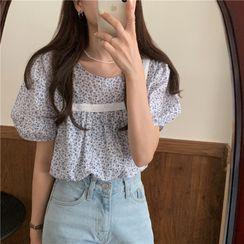 MIKIGA - 方领碎花泡泡短袖衬衫