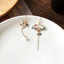Yambo - Asymmetrical Fan Earring / Clip-On Earring