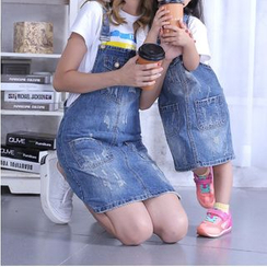 Denimot - Family Matching Distressed Denim Pinafore Dress