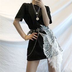 LINSI - Short-Sleeve Wing Applique Mini T-Shirt Dress