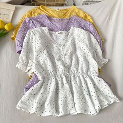 Kazarina - 短袖碎花短款衬衫