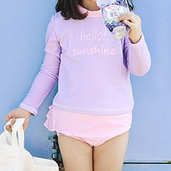 Roseate - Kids Set: Rash Guard + Bottom + Swim Cap