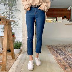 MERONGSHOP - Band-Waist Straight-Cut Jeans