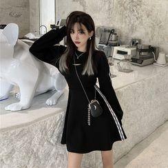 Flowerisque - 条纹短款套衫 / 细肩带迷你A字连衣裙