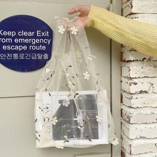 Leftsac - 花花刺绣网纱手提袋