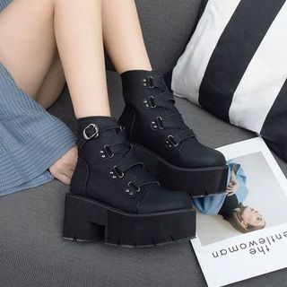 Anran - Platform Lace-Up Short Boots