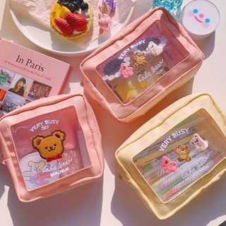 Yunikon - 熊印花化妝品收納包