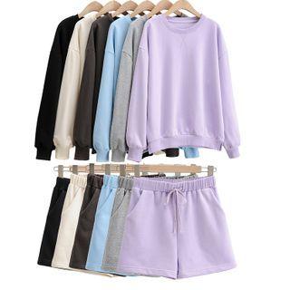 Hollahop - 套裝: 圓領衛衣 + 抽繩短褲