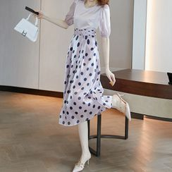 Themist - Set: Puff-Sleeve Blouse + Dotted A-Line Midi Skirt