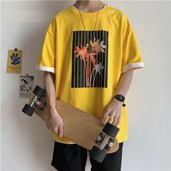 Lazi Boi - Elbow-Sleeve Print T-Shirt
