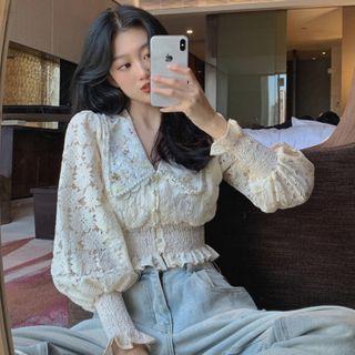 Guajillo - Lantern-Sleeve Crochet Ruffled Floral Blouse