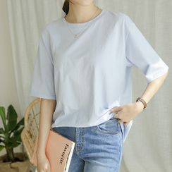 JUSTONE - Elbow-Sleeve Pastel-Color T-Shirt