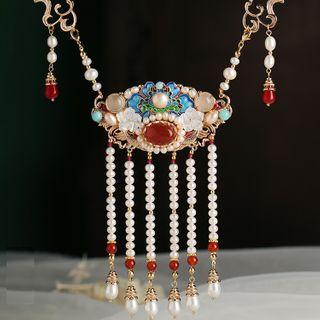 Kanzashi - Retro Faux Pearl Necklace