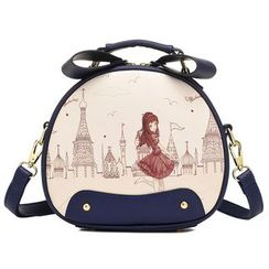 BeiBaoBao - Faux-Leather Printed Round Satchel