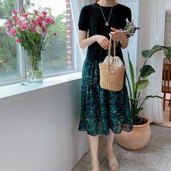 LEELIN - Round-Neck Pattern-Hem Knit Dress