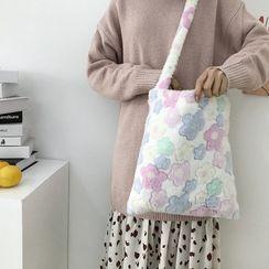 TangTangBags - 花朵印花抓毛斜挎包