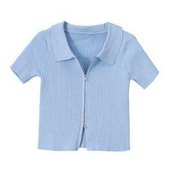 PUYE - Short-Sleeve Plain Zip Cropped Top