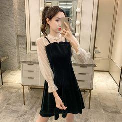 Emeraude - Sheer Long-Sleeve A-Line Dress