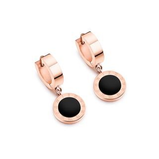 BELEC - Fashion and Exquisite Plated Rose Gold Roman Numeral Geometric Round 316L Stainless Steel Stud Earrings