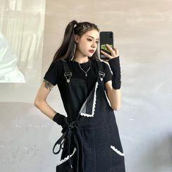 Giuliana - Lace Trim Denim Jumper Shorts
