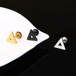 Prushia(プルシア) - Stainless Steel Triangle Plug Earring