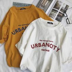 Basique - Print Short-Sleeve Round Neck T-Shirt