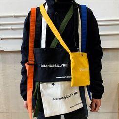 SUNMAN - Lettering Canvas Crossbody Bag