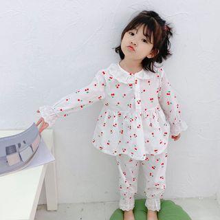 Cerula - Kids Set: Cherry Print Long-Sleeve Top + Pants