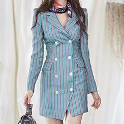 Aurora - 长袖条纹塑身迷你连衣裙