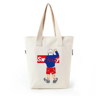 Lozynn - Cartoon Print Canvas Shopper Bag