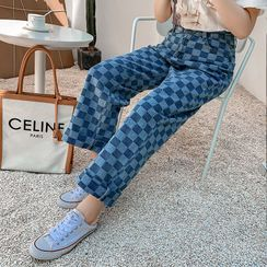 AIREN - Checkerboard Straight-Fit Jeans