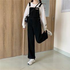 CaraMelody - Wide-Leg Denim Jumper Pants