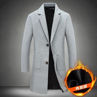 Alvicio - Plain Notch Lapel Long Coat