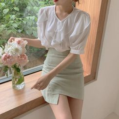 Yunhouse - 短袖荷葉襯衫 / 迷你修身裙