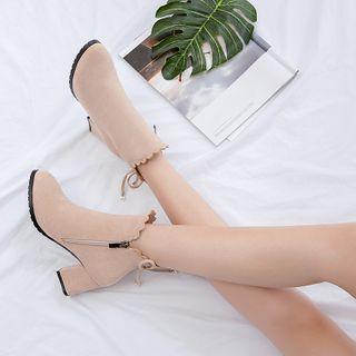 miindra - 侧拉链粗跟短靴