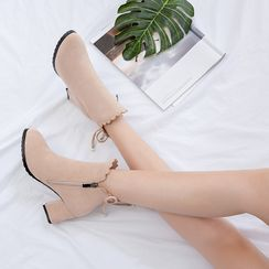 miindra - 側拉鏈粗跟短靴