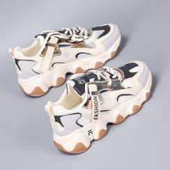 FRAISO - Contrast Color Mesh Panel Platform Sneakers