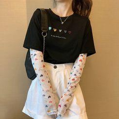 Gilmort - Mock Two-Piece Long-Sleeve Heart Print T-Shirt