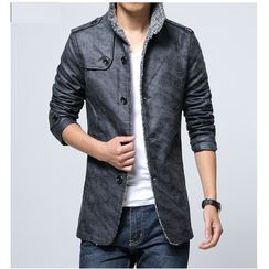 Carser - Fleece-Lined Single-Breasted Faux Leather Jacket