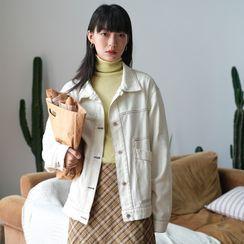 Charbon - Contrast Stitched Denim Jacket