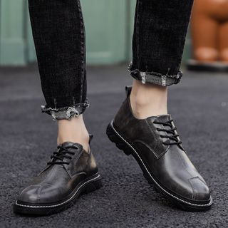 MARTUCCI - Lace-Up Faux Leather Loafers